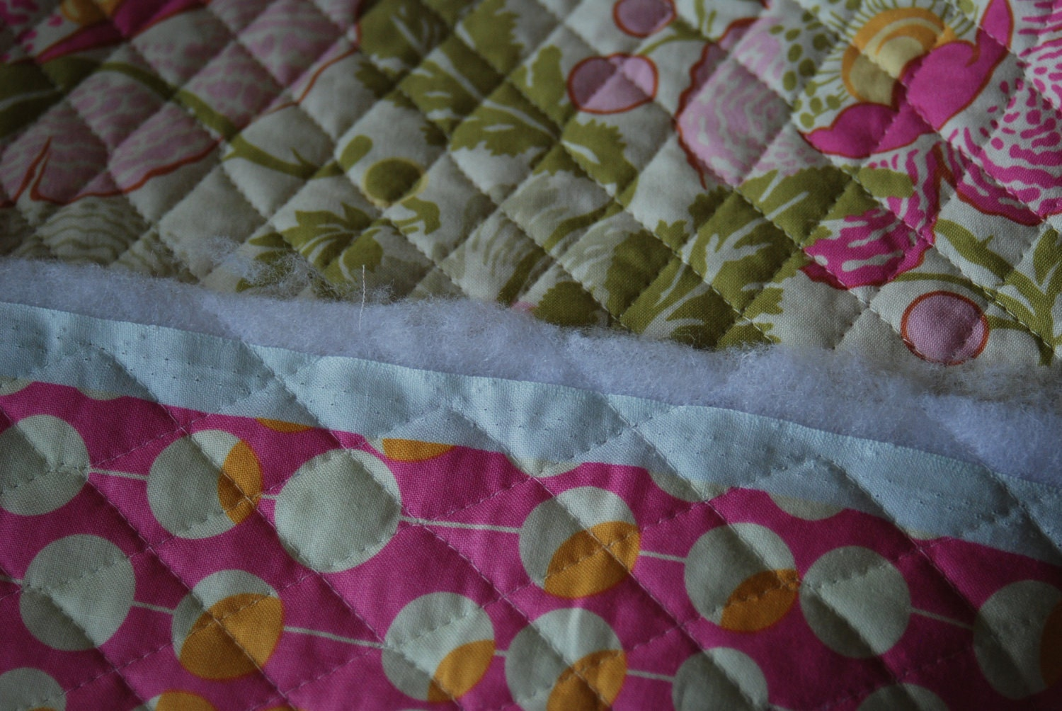 Amy Butler Double Sided Pre Quilted Fabric In Pink Poppies And
