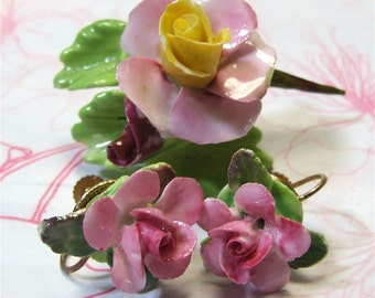 Staffordshire Porcelain Rose pin and earrings