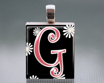 "Alphabet ""G"" Scrabble Tile Pendant with Silver Ball Chain"