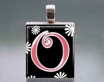 """Alphabet """"O"""" Scrabble Tile Pendant with Silver Ball Chain"""