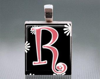 "Alphabet ""R"" Scrabble Tile Pendant with Silver Ball Chain"