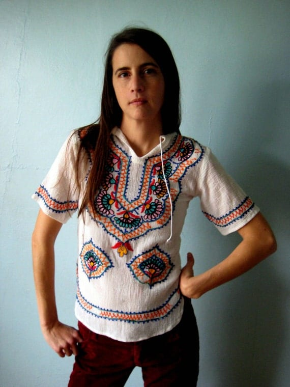 Amazing Vtg 70s EMBROIDERED Ethnic bohemian blouse S