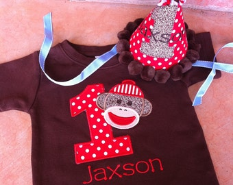 Sock Monkey Birthday Shirt AND Party Hat Set -  BROWN Shirt