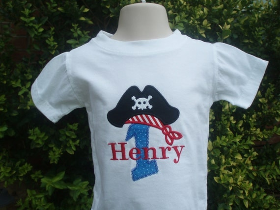 Pirate Number Boys Birthday Shirt or Onesie with Free Personalization