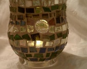 candle holder, small vase multi color glass
