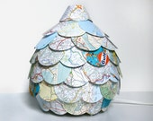 Road Map Table Lamp - Small Paper Lantern Light