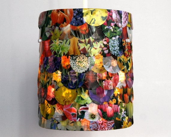Small Floral Drum Shade - Hanging Pendant Lamp Shade ONLY