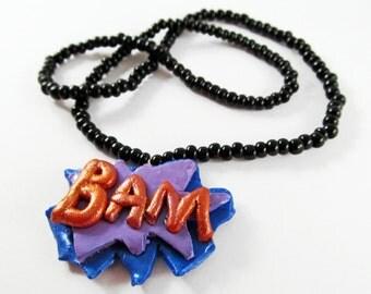Bam comic necklace
