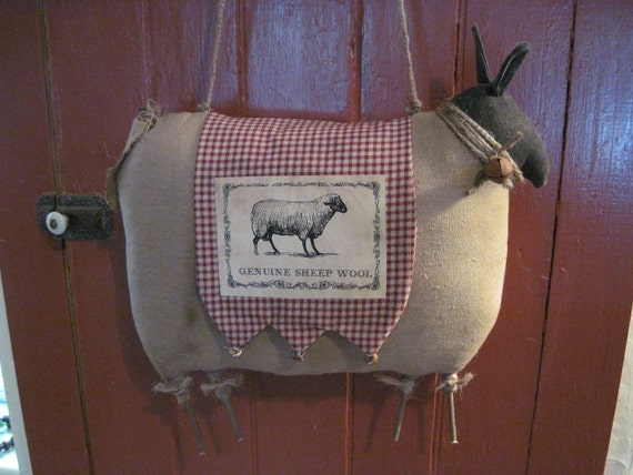 Primitive Sheep, Prim Sheep, Wool Sheep, Door decor, Primitive Animals