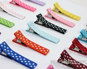 25-SWISS DOTS-Partially Lined Double Prong Alligator Clips U Pick Color