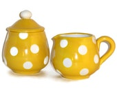 Ceramic Cream & Sugar Set Yellow with White Polka Dots