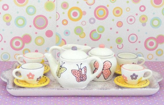 items similar to ceramic tea set for girls tea party on etsy. Black Bedroom Furniture Sets. Home Design Ideas