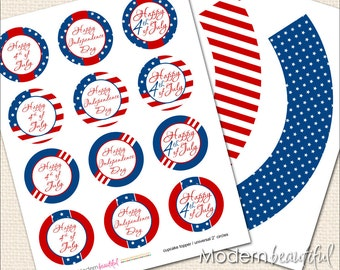 4th of JulyCupcake Toppers and Wrappers, red, white and blue, 4th of july favor tag, happy 4th of july, ready to print 4th of july printable