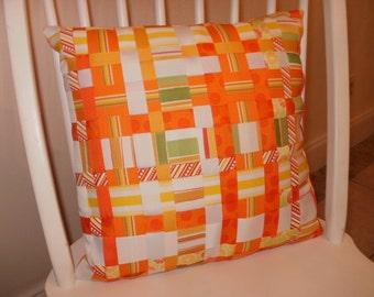 Woven Grosgrain Ribbon Throw Pillow...Orange and White...FREE SHIPPING