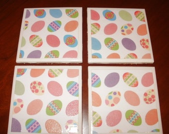 Easter Tile Coasters...Set of 4...For Drinks, Coffee or Candles