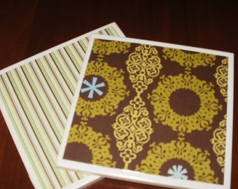 2 Hot Plates or Trivets...Tile on Cork...Brown and Green