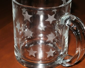 4 Etched Coffee Mugs...Etched with Stars...Dishwasher Safe
