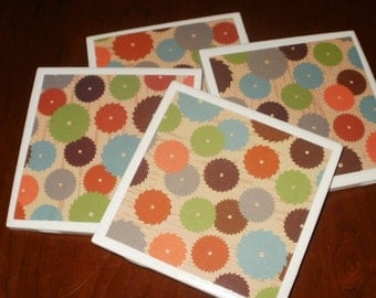 Tile Coasters...Circular Saws on Wood Grain...Set of 4...For Drinks, Beer and Wine