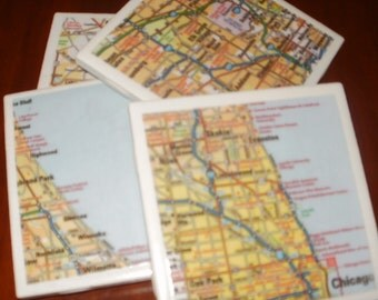 Chicago Road Map Coasters...Set of 4...For Drinks and Candles...Full Cork Bottoms NOT Felt...Great Gift