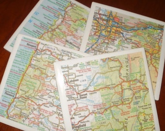Map Coasters - Oregon Road Map Coasters...Set of 4...For Drinks or Candles...Full Cork Bottoms NOT Felt