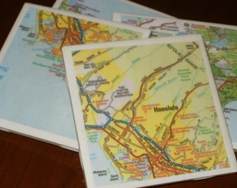 Map Coasters - Hawaii Road Map Coasters...Set of 4...For Drinks or Candles...Full Cork Bottoms NOT Felt