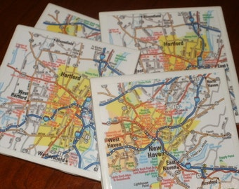 Map Coasters - Conn. Road Map Drink Coasters...Including New Haven and Hartford...Set of 4...Full Cork Bottoms NOT Felt