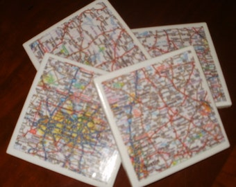 Map Coasters - Texas Road Map Coasters...Including Dallas and Austin...Set of 4...For Drinks or Candles...Full Cork Bottoms NOT Felt
