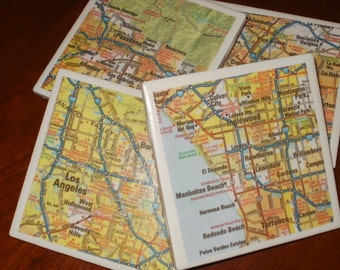 Map Coasters - California Road Map Tile Coasters...Featuring LA, Pasadena, Hollywood, Burbank...Set of 4...Full Cork Bottoms NOT Felt