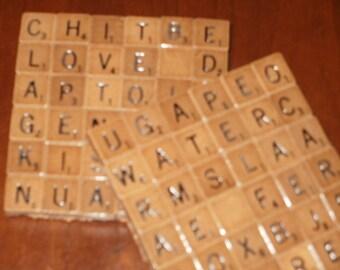 Pair Mini Scrabble Tile Coasters...Rare Mini Wood Scrabble Tiles on Cork Bottom...FREE SHIPPING