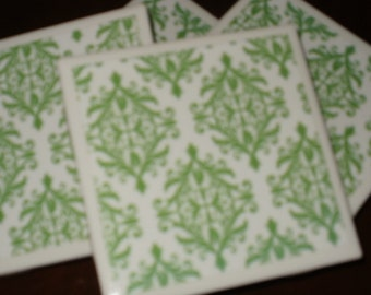 Drink Coasters, Green and White. ..Ceramic on Cork...Set of 4