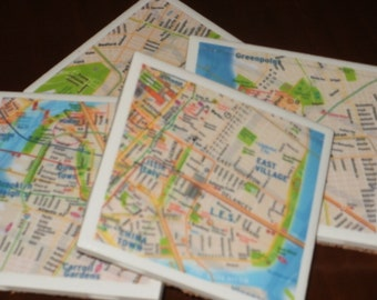 Tile Coasters, Brooklyn Map Coasters...Set of 4...For Drinks and Candles...Full Cork Bottoms