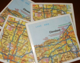 Map Coasters - Ohio Map Coasters...Featuring Cleveland and Columbus...Set of 4...Full Cork Bottoms...For Drinks and Candles