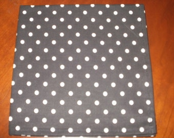 Dinner Napkins...Set of 6...Black with White Polka Dots...17 inches...Stitched Hems NOT Serged...FREE SHIPPINGe