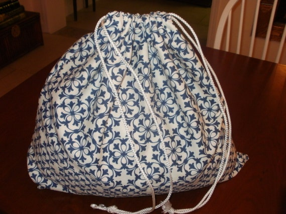 Large Drawstring Travel Sac...Blue and White Print... Great for Travel or Laundry...FREE SHIPPING