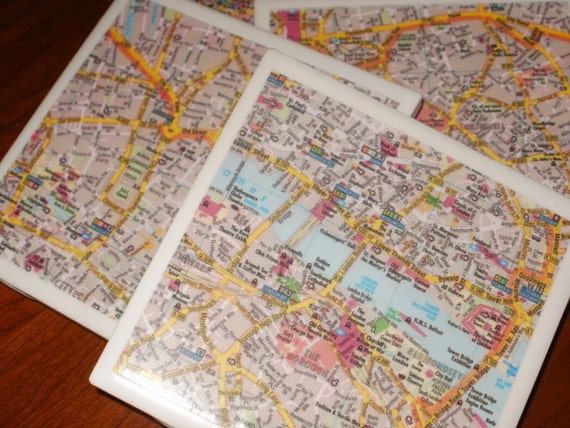 Map Coasters - London Road Map Coasters...Set of 4...For Drinks and Candles..,.Full Cork Bottoms NOT Felt