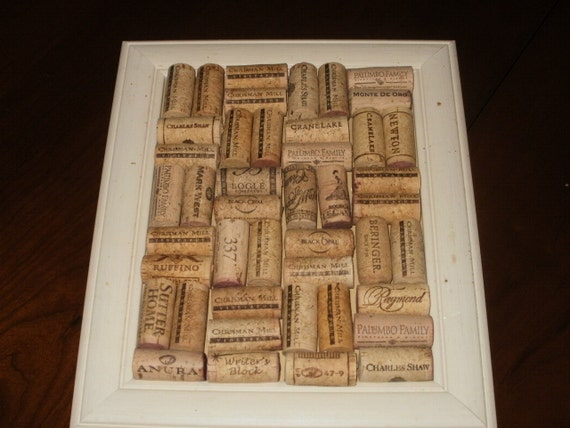 Sale...Wine Cork Message Board in Neutral Shabby Chic Frame - 10.5 x 12.5