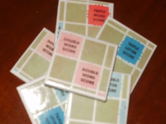 6 Vintage Scrabble Board Tile Magnets