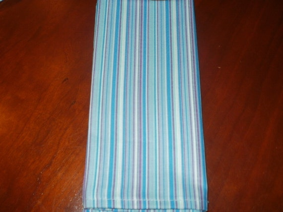 6 Stripe Blue Cloth Napkins...Large 17 inches...Stitched Hems NOT Serged...FREE SHIPPING