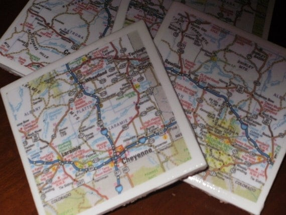 Map Coasters...Wyoming Road Map Drink Coasters...Featuring Cheyenne, Laramie and Casper...Full Cork Bottoms NOT Felt
