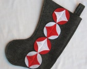 Eco felt Christmas stocking--red and white retro design