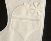 eco felt christmas stocking with ornament--cream monochrome