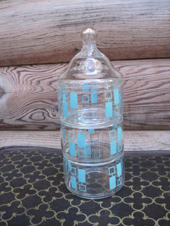 Atomic Turquoise and Gold Three Tier Glass Candy Jar