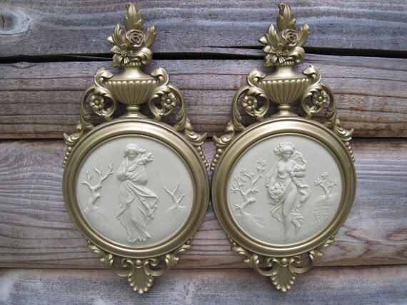 Vintage Dart Ivory and Gold Plaques