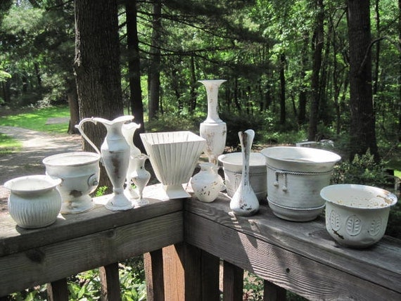 12 Upcycled Brass Wedding Centerpiece Vases Painted Creamy White