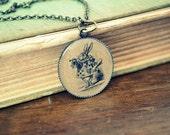 White Rabbit Alice in Wonderland Necklace