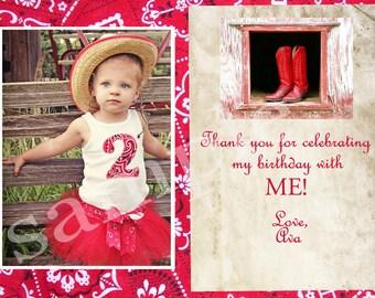 Vintage Western Birthday Invite or Thank You card digital Print