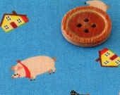 SMALL  Piggy Printed Japanese cotton fabric Blue color 1 yard