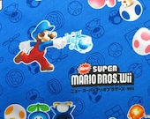 SUPER Mario fabric Blue color almost FQ yard
