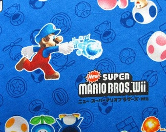 SUPER Mario fabric Blue color FQ