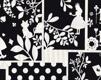 Alice in wonderland fabric black half yard